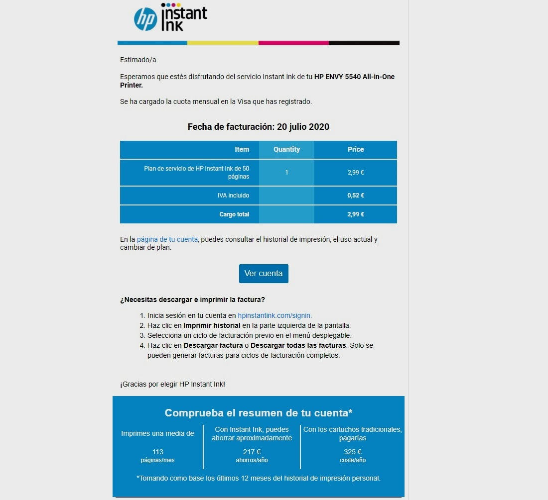 HP Instant Ink facturas