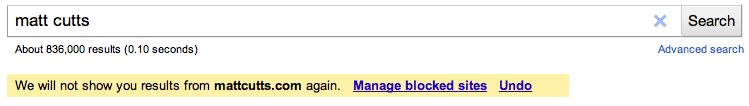 Google permite bloquear resultados en las búsquedas