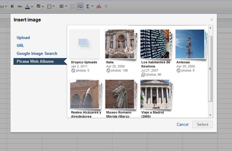 Google Docs integra imágenes en las hojas de cálculo