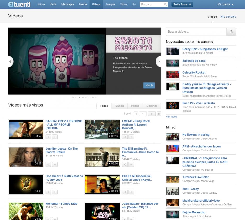 Tuenti estrena un nuevo portal de vídeos