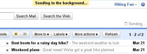 Sending Gmail ya deja enviar mensajes en segundo plano