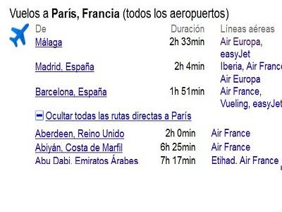 Google ofrece los horarios de los vuelos en los resultados de búsqueda