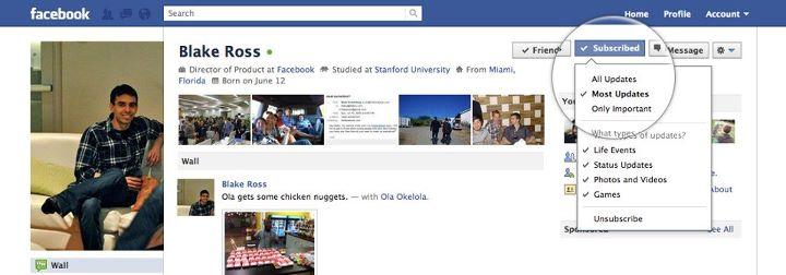 Facebook lanza la opción de suscribirse