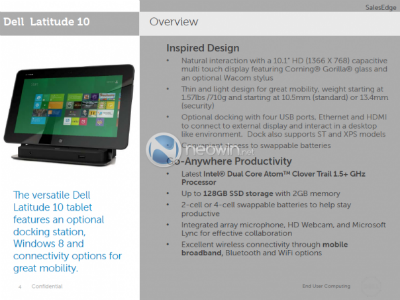 Nuevos detalles de la tablet profesional con Windows 8 de Dell