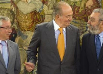 Los sindicatos se reúnen casi una hora en La Zarzuela con el Rey