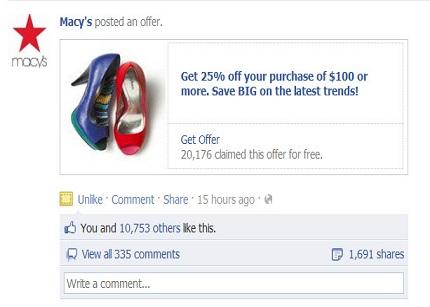 Facebook Offers comienza a cobrar a las empresas