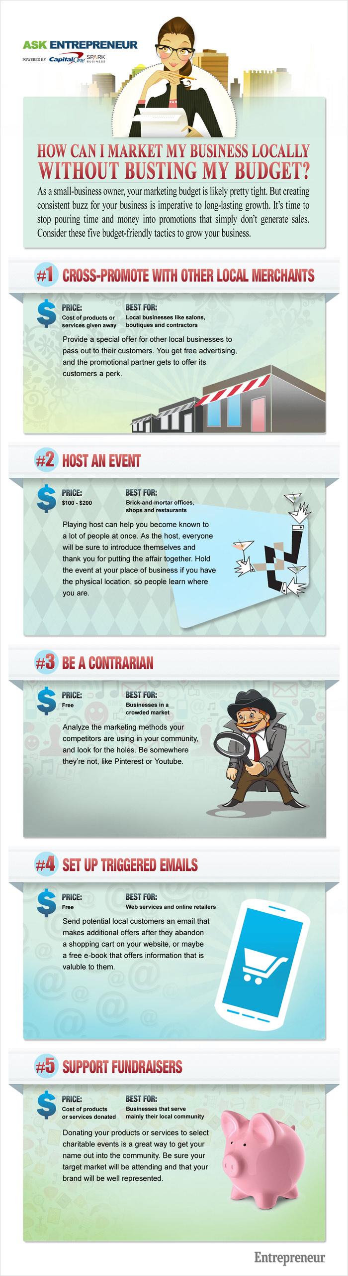 Cinco maneras económicas de promocionar un negocio local (infografía)