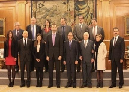 El Príncipe de Asturias recibe a los galardonados en 2012 con el Premio Autónomo del Año,