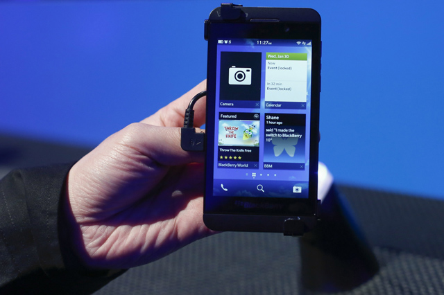 A new RIM Blackberry 10 device is seen after their launch in New York