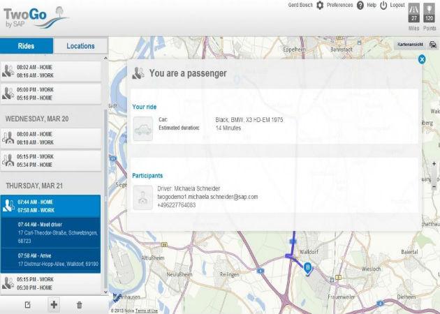 SAP lanza TwoGo, una app para que los empleados compartan coche