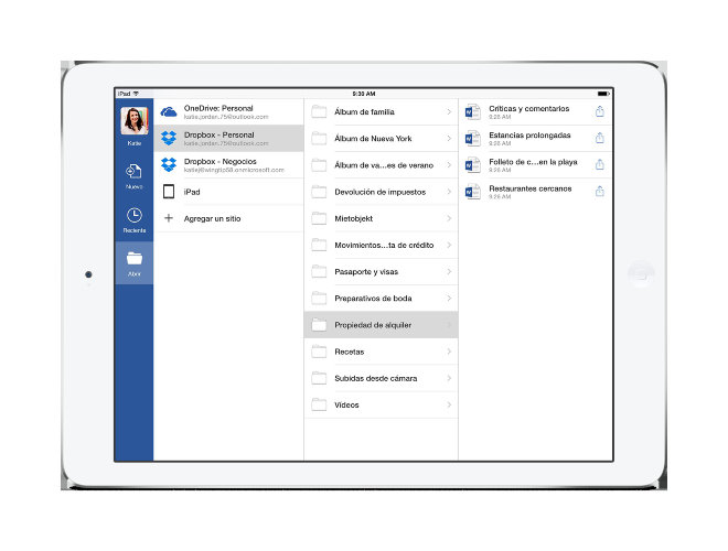 Accede a archivos de Dropbox desde la aplicación de Office