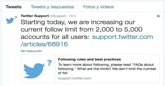 Twitter aumenta el número de usuarios a los que se puede seguir