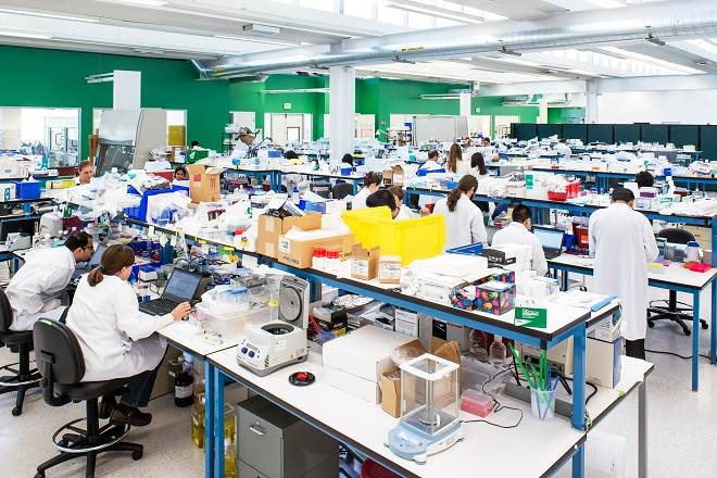 Laboratory scientists perform biochemical experiments in a Theranos R&D lab in Palo Alto.