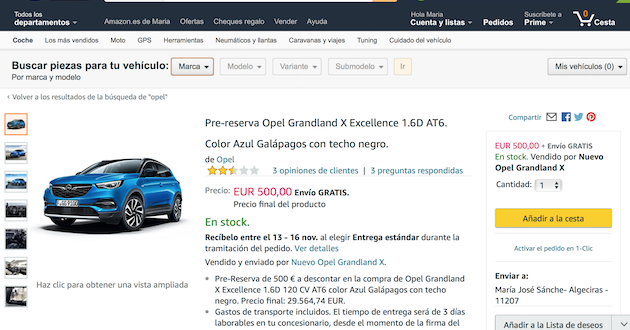 amazon vende coches